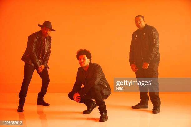 LIVE Daniel Craig Episode 1782 Pictured Chris Redd musical guest The Weeknd and Kenan Thompson during the On The Couch sketch on Saturday March 7 2020