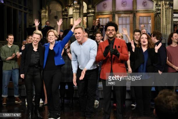 LIVE Daniel Craig Episode 1782 Pictured Kate McKinnon senator Elizabeth Warren host Daniel Craig musical guest The Weeknd and Rachel Dratch during...