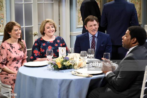 LIVE Daniel Craig Episode 1782 Pictured Melissa Villaseñor Aidy Bryant host Daniel Craig and Kenan Thompson during the Debbie Downer Wedding...