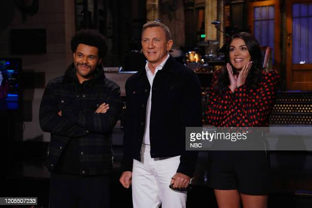 LIVE Daniel Craig Episode 1782 Pictured Musical guest The Weeknd host Daniel Craig and Cecily Strong during Promos in Studio 8H on Thursday March 5...
