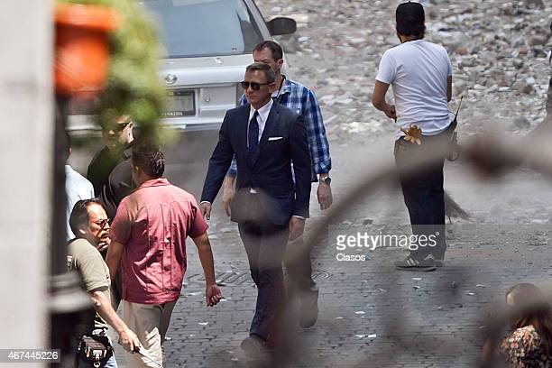 Daniel Craig is seen filming 'Spectre' the new James Bond on March 24 2015 in Mexico City Mexico