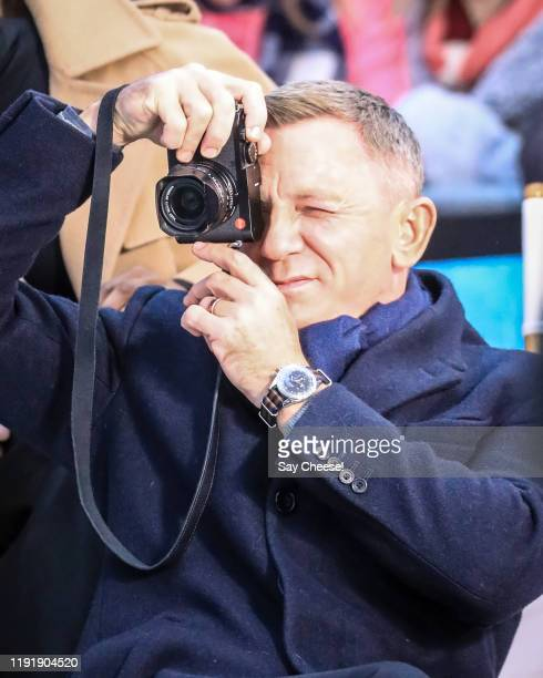 Daniel Craig is seen in Times Square making an appearance on 'GMA' to promote 'No Time To Die' on December 04 2019 in New York City