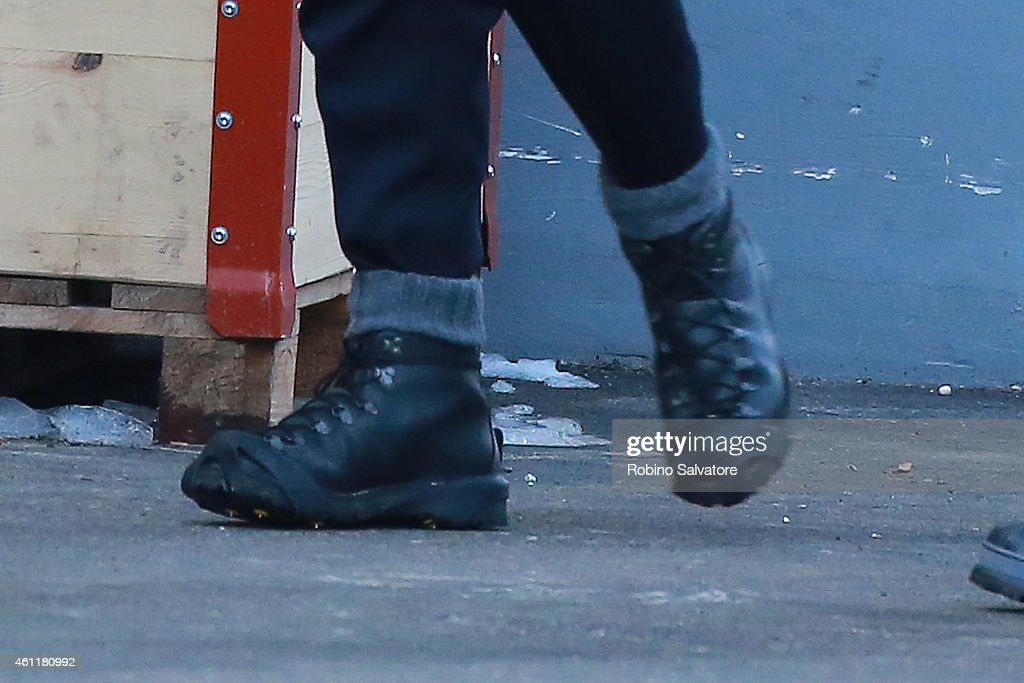 Daniel Craig (shoe detail) is seen on location for the filming of James Bond on January 8, 2015 in Bad Aussee, Austria.