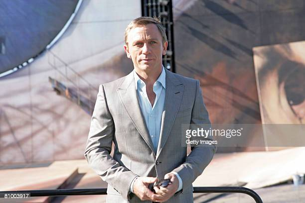 Daniel Craig is seen on the sea stage in Bregenz on 06 May, 2008 in Bregenz, Austria. Since the 30th april the austrian director Marc Forster is...