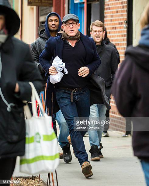 Daniel Craig is seen running to the OffBroadway play 'Othello' at New York Theater Workshop on January 14 2017 in New York New York