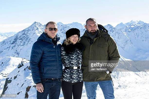 Daniel Craig Lea Seydoux and Dave Bautista pose at the photo call for the 24th Bond film 'Spectre' on January 7 2015 in Soelden Austria