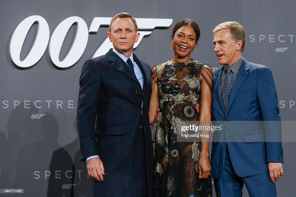 Daniel Craig, Naomie Harris and Christoph Waltz attend the Spectre' German Premiere on October 28, 2015 in Berlin, Germany.