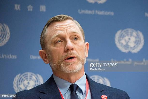 Daniel Craig offers his remarks to the UN press corps On the occasion of the International Day of Mine Awareness and Assistance in Mine Action...