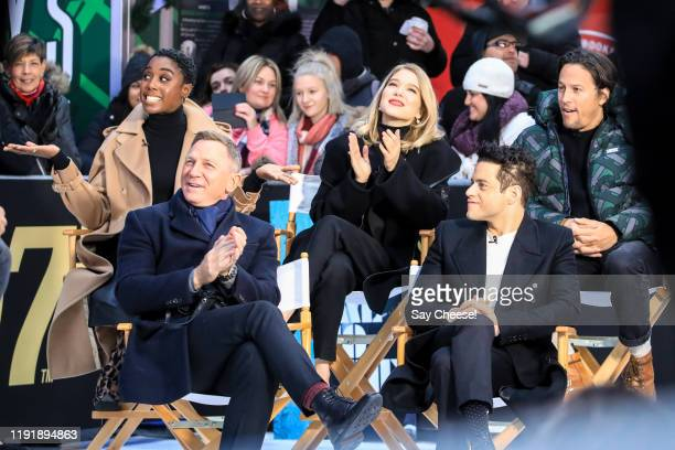 Daniel Craig Rami Malek Lashana Lynch Lea Seydoux and Cary Fukunaga are seen in Time Square promoting 'No Time To Die' on 'Good Morning America' on...