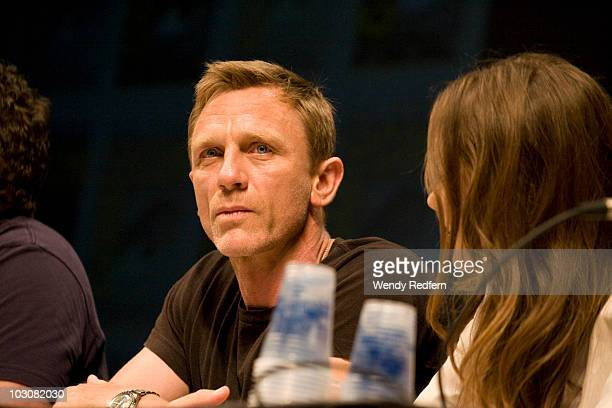 Daniel Craig speaks at the Cowboys and Aliens panel at ComicCon on July 24 2010 in San Diego California
