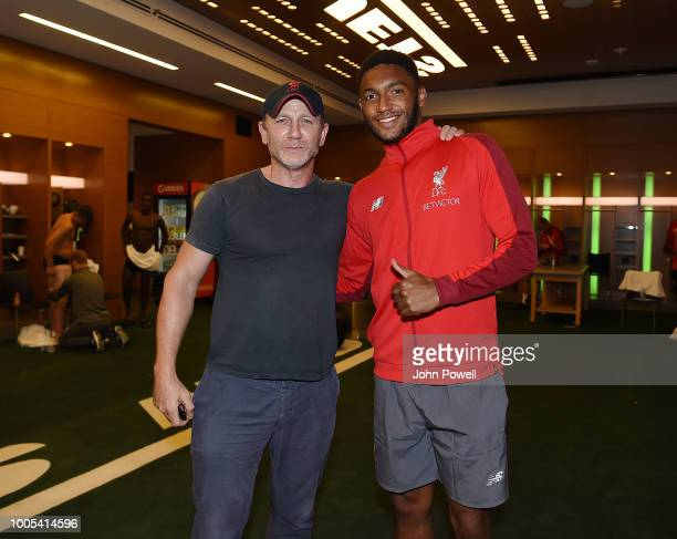 Daniel Craig the actor who plays James Bond posing for a photograph with Joe Gomez of Liverpool shows his appreciation to the fans at the end of the...