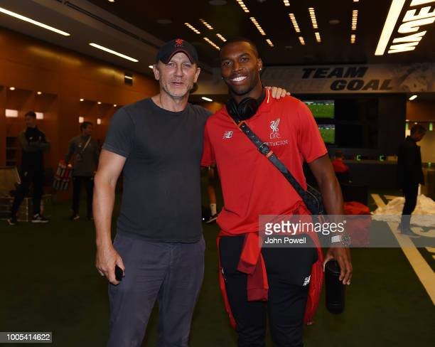 Daniel Craig the actor who plays James Bond posing for a photograph with Daniel Sturridge of Liverpool after the end of the International Champions...