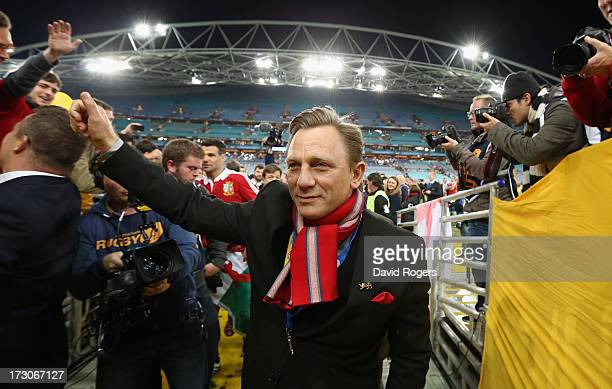 Daniel Craig the James Bond actor walks down the tunnel during the International Test match between the Australian Wallabies and British Irish Lions...