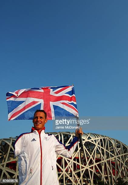 Daniel Crates of Great Britain parades outside the National Stadium after being named as the Team GB flag bearer for the Beijing Paralympic Games...