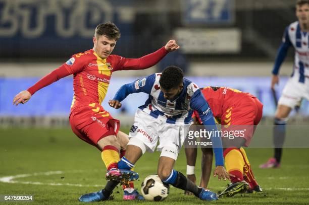 Daniel Crowley of Go Ahead Eagles Jeremiah St Juste of sc Heerenveen Elvis Manu of Go Ahead Eaglesduring the Dutch Eredivisie match between sc...