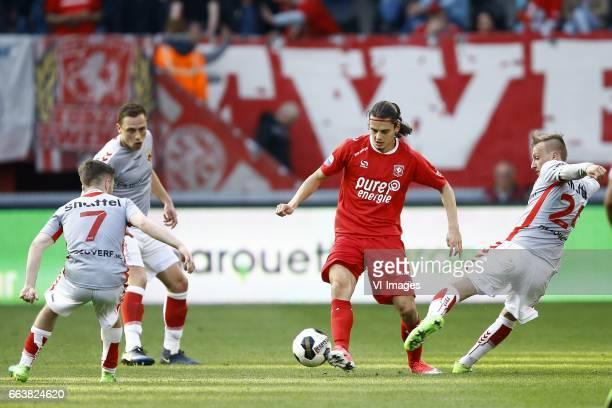 Daniel Crowley of Go Ahead Eagles Xandro Schenk of Go Ahead Eagles Enes Unal of FC Twente Marcel Ritzmaaier of Go Ahead Eaglesduring the Dutch...