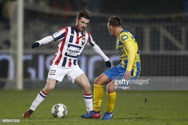 Daniel Crowley of Willem II Daan Rienstra of RKC Waalwijk during the Dutch Cup third round match between Willem II Tilburg and RKC Waalwijk at Koning...
