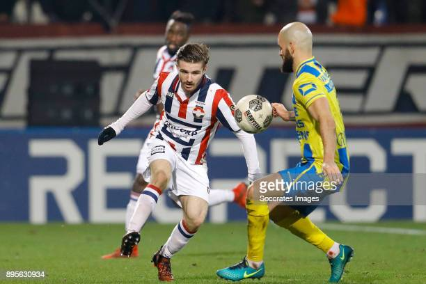Daniel Crowley of Willem II Hans Mulder of RKC Waalwijk during the German DFB Pokal match between Schalke 04 v 1 FC Koln at the Veltins Arena on...