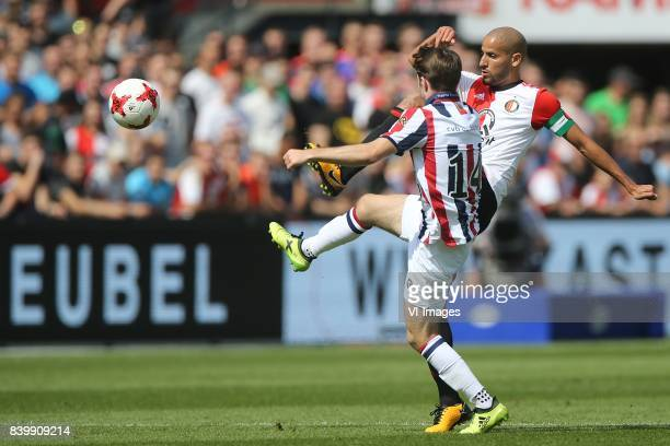 Daniel Crowley of Willem II Karim El Ahmadi of Feyenoord during the Dutch Eredivisie match between Feyenoord Rotterdam and Willem II Tilburg at the...