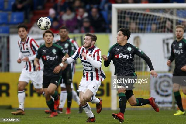Daniel Crowley of Willem II Ludovit Reis of FC Groningen during the Dutch Eredivisie match between Willem II Tilburg and FC Groningen at Koning...