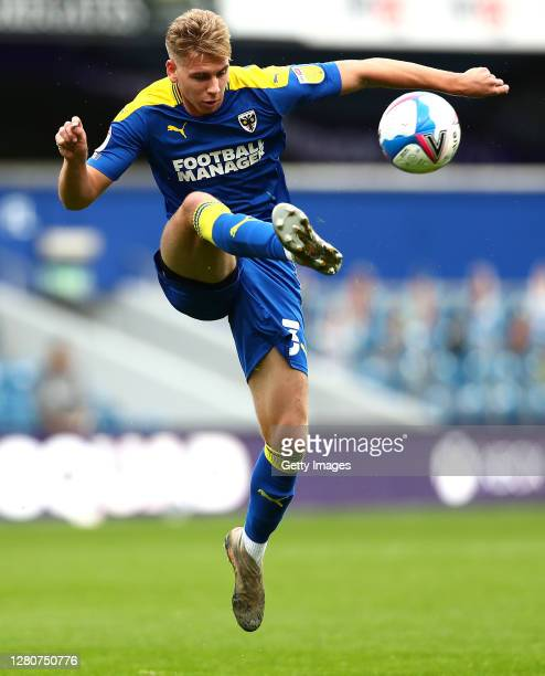 Daniel Csoka of AFC Wimbledon controls the ball during the Sky Bet League One match between AFC Wimbledon and Shrewsbury Town at The Kiyan Prince...