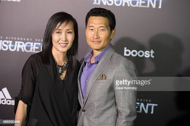 Daniel Dae Kim and wife Mia Kim arrives at the The Divergent Series Insurgent New York premiere at Ziegfeld Theater on March 16 2015 in New York City