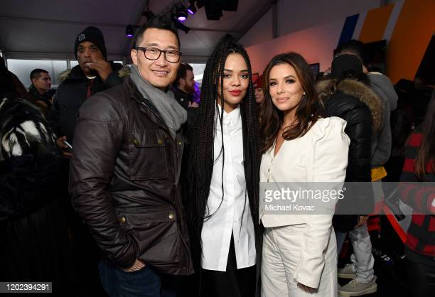 Daniel Dae Kim Tessa Thompson and Eva Longoria attend the after party for Sylvie's Love at Acura Festival Village on January 27 2020 in Park City Utah
