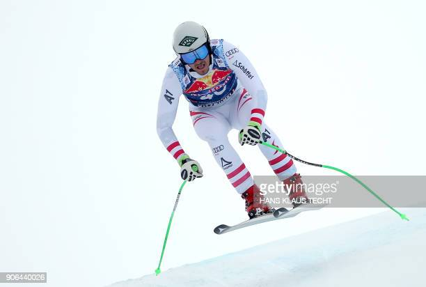 Daniel Danklmaier of Austria performs during a training session of the FIS Alpine World Cup Men's downhill event in Kitzbuehel Austria on January 18...