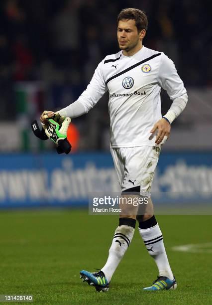 Daniel Davari goalkeeper of Braunschweig looks dejected after the Second Bundesliga match between Eintracht Braunschweig and Union Berlin at...