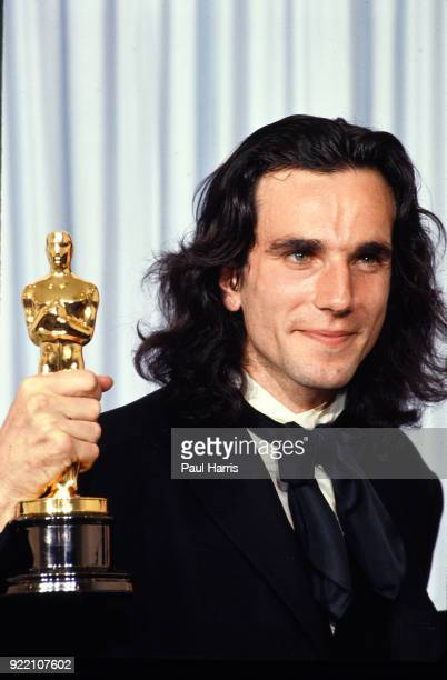 Daniel Day Lewis and his Oscar for My Left Foot March 26 1990 at the Dorothy Chandler Pavilion Los Angeles California