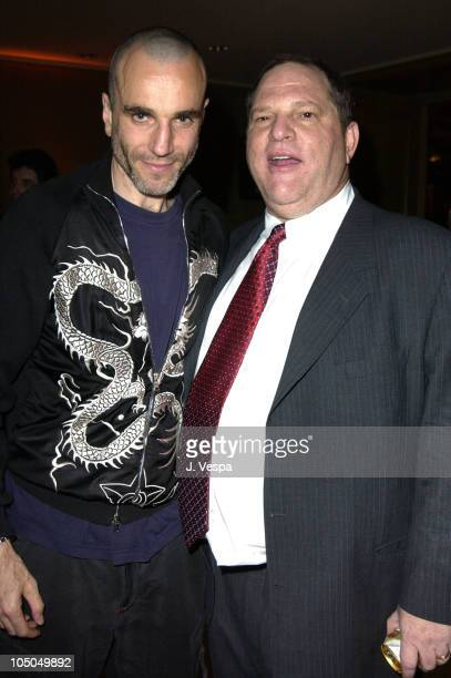 Daniel DayLewis and Harvey Weinstein during Miramax 2003 MAX Awards Inside at St Regis Hotel in Los Angeles California United States