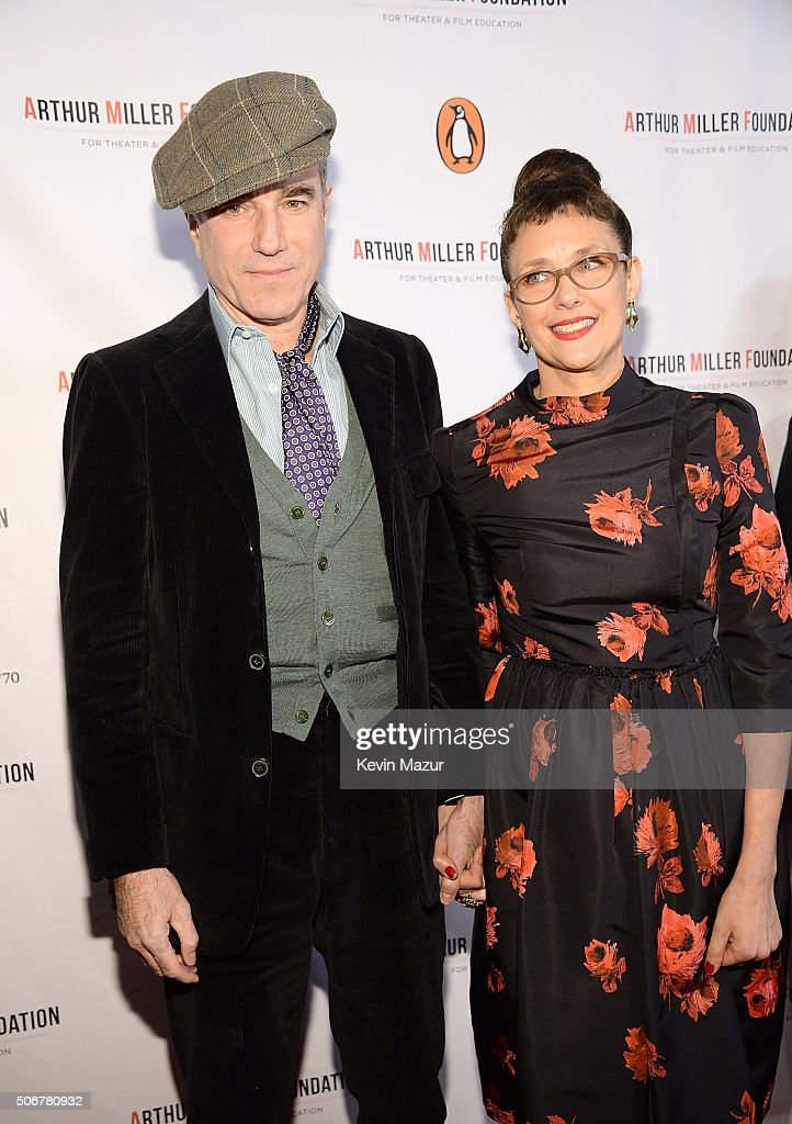 Daniel Day-Lewis and Rebecca Miller attend the Arthur Miller - One Night 100 Years Benefit at Lyceum Theatre on January 25, 2016 in New York City.