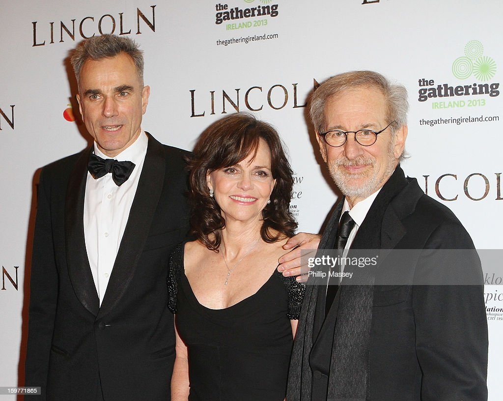Daniel Day-Lewis, Sally Field and Steven Spielberg attends the European premiere of 'Lincoln' on January 20, 2013 in Dublin, Ireland.