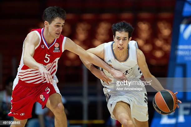 Daniel de la Rua, #8 of Real Madrid competes with Jovan Andelkovic, #5 of Crvena Zvezda TelekomcoBelgrade during the Nike International Junior...