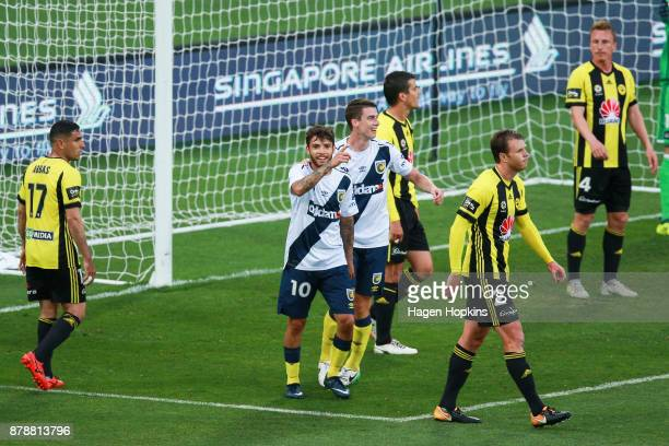 Daniel De Silva and Jake McGing of the Mariners celebrate a goal during the round eight ALeague match between the Wellington Phoenix and the Central...