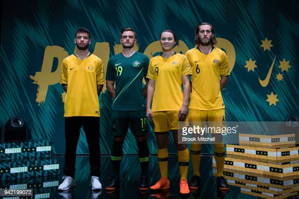 Daniel De Silva Josh Risdon Caitlin Ford and Joshua Brillante during the Nike Football Australian National Team Kit Launch on April 5 2018 in Sydney...