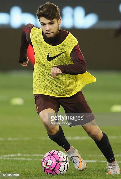 Daniel De Silva of AS Roma controls for the ball during an AS Roma training session at Melbourne Cricket Ground on July 17 2015 in Melbourne Australia