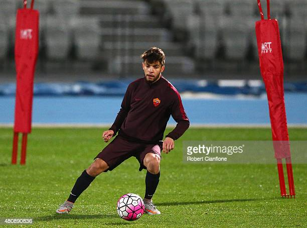 Daniel De Silva of AS Roma controls the ball during an AS Roma training session at Lakeside Stadium on July 16 2015 in Melbourne Australia