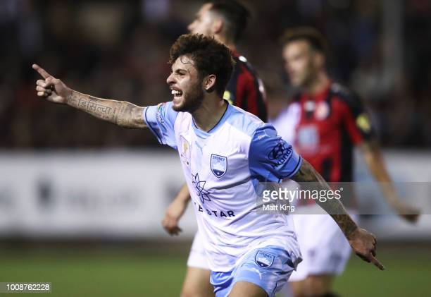 Daniel De Silva of Sydney FC celebrates scoring a goal during the FFA Cup round of 32 match between Rockdale City Suns and Sydney FC at Ilinden...