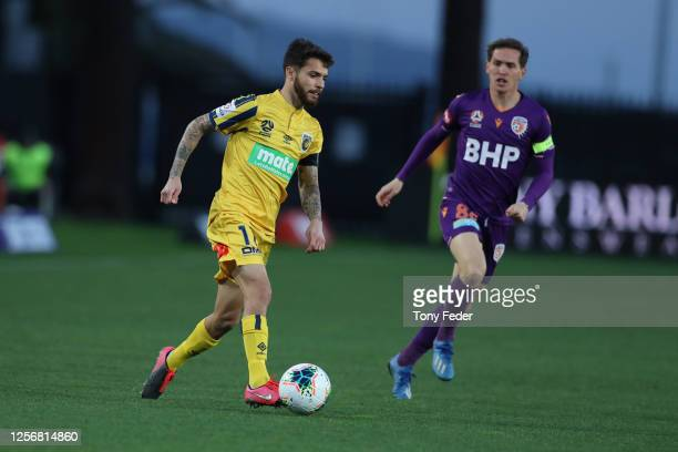 Daniel De Silva of the Central Coast Mariners controls the ball during the round 29 ALeague match between the Perth Glory and the Central Coast...