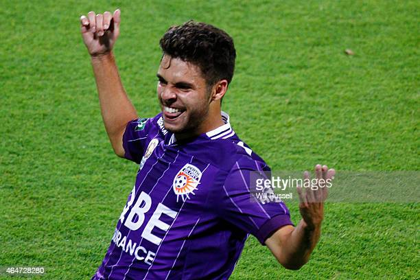 Daniel De Silva of the Glory celebrates after scoring a goal during the round 19 ALeague match between Perth Glory and Brisbane Roar at nib Stadium...