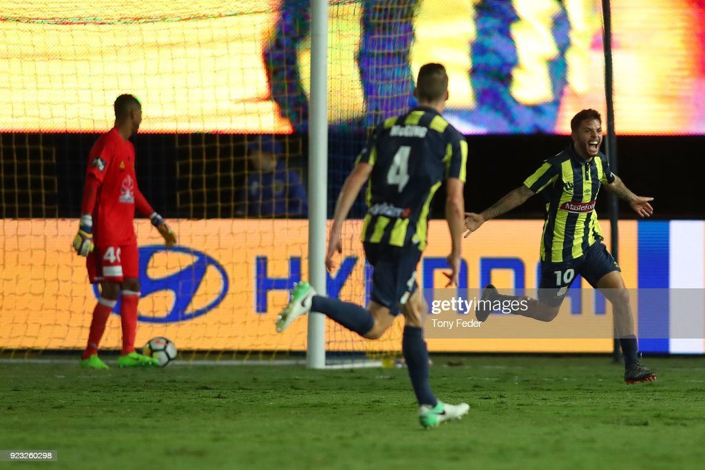 Daniel De Silva of the Mariners celebrates a goal during the round 21 A-League match between the Central Coast Mariners and the Wellington Phoenix at Central Coast Stadium on February 23, 2018 in Gosford, Australia.