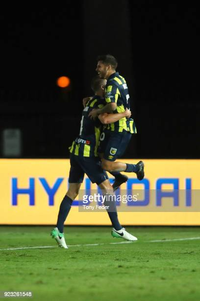 Daniel De Silva of the Mariners celebrates a goal during the round 21 ALeague match between the Central Coast Mariners and the Wellington Phoenix at...