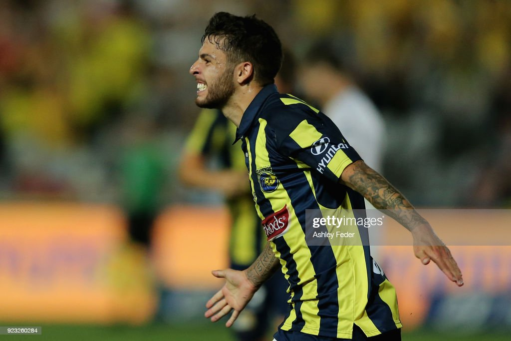 Daniel De Silva of the Mariners celebrates his goal during the round 21 A-League match between the Central Coast Mariners and the Wellington Phoenix at Central Coast Stadium on February 23, 2018 in Gosford, Australia.