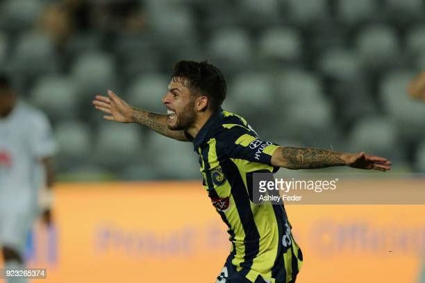 Daniel De Silva of the Mariners celebrates his goal during the round 21 ALeague match between the Central Coast Mariners and the Wellington Phoenix...