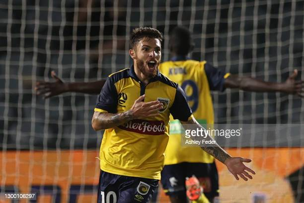 Daniel De Silva of the Mariners celebrates his goal with team mates during the A-League match between the Central Coast Mariners and Melbourne City...