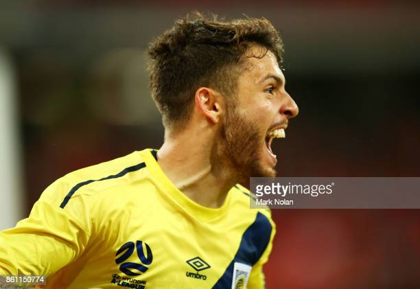 Daniel De Silva of the Mariners celebrates scorin a goal during the round two ALeague match between the Western Sydney Wanderers and the Central...