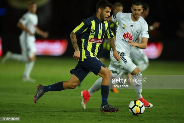 Daniel De Silva of the Mariners contests the ball with Matija Ljujic of the Phoenix during the round 21 ALeague match between the Central Coast...
