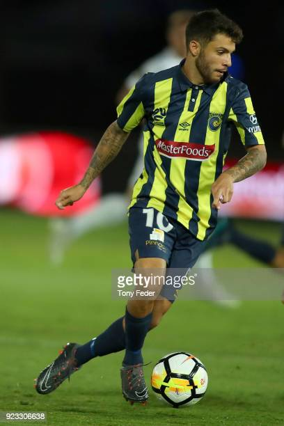 Daniel De Silva of the Mariners controls the ball during the round 21 ALeague match between the Central Coast Mariners and the Wellington Phoenix at...