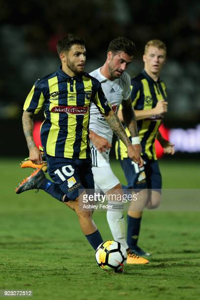 Daniel De Silva of the Mariners in action during the round 21 ALeague match between the Central Coast Mariners and the Wellington Phoenix at Central...